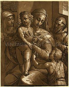 The Virgin, Child, and saints, 1585 Vintage Virgin Mary Art Canvas Print 22x28