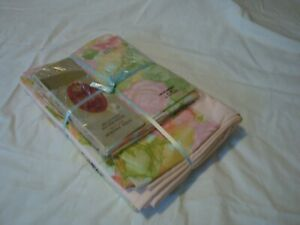 Vintage Cannon Royal Family Percale New Floral Pink Sheet Set