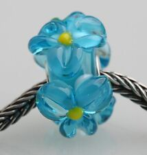 1pcs Big Flowers MURANO GLASS BEAD LAMPWORK Fit European Charm Bracelet QH018