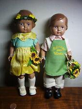 """2 Puppen DOLLS Schildkröt unbespielt neuwertig orginal Kleidung """"Garten"""" 25 #f"""