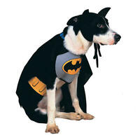 Pet Dog Cat Batman Costume Rubies Fancy Dress Halloween Outfit Superhero S-XL