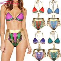 Women African Dashiki Metallic Push up Bikini Padded High Waist Bandage Swimwear
