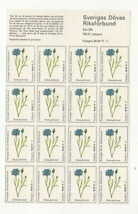 Sweden Charity Stamps Sheet of 16 National Assoc. of the Deaf Ostergotland MNH