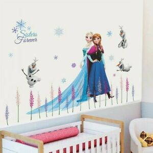Frozen Elsa Anna Olaf Wall Sticker Nursery Kids Room Removable Mural Decor Uk
