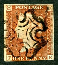 1841 1d red - TE plate 8 state 3 - SG £375, three margins, thinned
