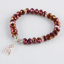AB Deep Purple Crystal Glass Beads Pink Ribbon Breast Cancer Awareness Bracelet