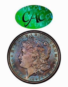 CAC 1896-P Morgan Dollar PCGS MS65 CAC Beautiful Blue Dual Rainbow Toned