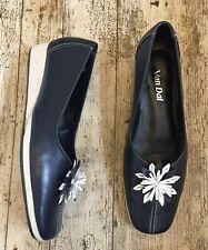 VAN DAL Ladies Navy Leather Shoes GEN Floral Applique Wedge Slip On ~UK 7.5 E~