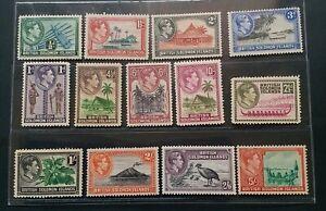 BRITISH SOLOMON 1938 KGVI 1/2d to 10s SG 60 - 72 Sc 67 - 79 pictorial set 13 MNH
