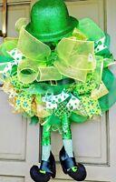 St Patricks Day Light Up Leprechaun Legs & Hat Deco Mesh Wreath Lit Door Decor