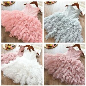 Baby Girls Flower Lace Princess Party Birthday Dress Size 3-8 Tutu Wedding Gown