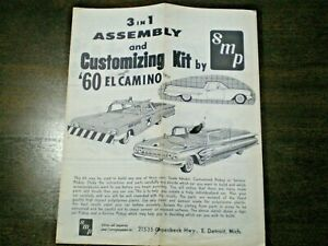 """SMP """"1960 Chevy El Camino """" Original 3-in-1 Model Car Instruction sheet from1960"""
