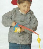 """Chunky Jacket with Hood or Collar Knitting Pattern Girls or Boys 20-30""""    159"""