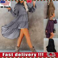 Women Casual Loose Long Sleeve Ruffle Shirt Tunic Tops Asymmetrical Swing Blouse