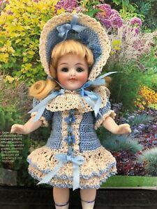 Mignonette all bisque doll crochet dress set Susan Hitzel 6 inch French German