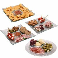 Glass Condiments Snacks Appetizer Plate Tray Dish Sauce Dipping Serving Platter