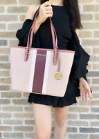 Michael Kors Jet Set Medium Carryall Tote Ballet Pink MK Merlot Stripe
