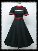 dress190 Black & Red 50s Rockabilly Mandarin arty Cocktail Prom Ball Dress 14-20