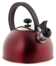 Home Basics NEW 2.5L Enamel Coated Steel Red Metallic Tea Kettle- TK44082-RED