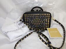 NWT Michael Kors Jenkins STUD Black Leather Crossbody Pouches Medium Camera Bag