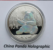 China: 10 Yuan 2017 Silber 30 gramm Panda, #F 2540, Holographic Edition Only 500