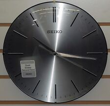 "SEIKO 12"" SILVER FINISHED DIAL W/BLACK TRIM- WALL CLOCK, QUIET SWEEP QXA630ALH"