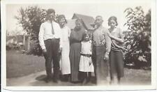 #467P Vintage Photo Family Girl w Necklace Man w Suspenders Lady Long Dress