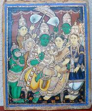 Ancienne peinture de Thanjavur Tamil Nadu Perles Argent Or Rama Sita Inde 19e
