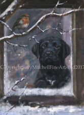 Black Labrador and Robin Christmas Cards pack of 10 by John Trickett. C507X