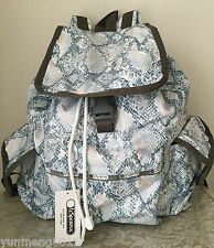 NWT LeSportsac voyager backpack bag Purse aqua snake blue white grey beige $118