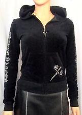 SILVER DAGGER Black Velour/Rhinestones Hooded Jacket/Hoodie, S