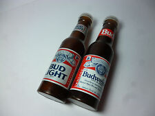 "Old Bud Budweiser Bud Light Beer Salt and Pepper Shakers Plastic 4"" tall Bottle"