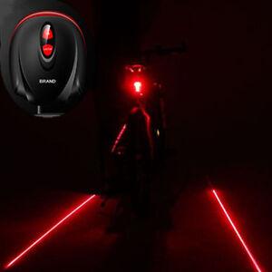 Fahrrad-2-Laser-Projektor-Lampen Red Beam und 3 LED Rück Rückleuchten