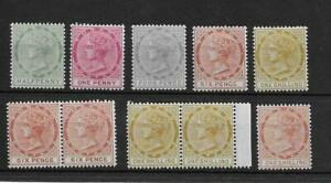 (Q) Tobago 1885 definitives mh/mnh (10v)