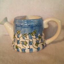 """Watering Can Blue on White w/ Green Ivy Leaves 5½"""" Circumference 5"""" Tall Ftd"""