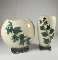 Vintage Royal Copley Embossed Green Cream Climbing Ivy Vases or  Planters