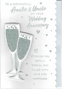 Wonderful AUNTIE and UNCLE Quality Anniversary Card,  Champagne Design