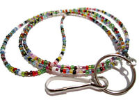 32 Colors Beaded Id Lanyard, Id Badge Holder Lanyard, Id Lanyard, Id Necklace