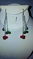 Jingle Bells MULTI COLOR Christmas Chandelier Earrings Jewelry  by BEAU DEFI