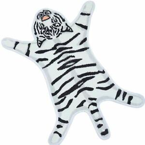 White Tiger Animal Print Faux Fur Rug Hide Washable Carpet Soft Bedroom Mats