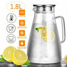 1,8L Glaskaraffe Krug Wasserkrug Karaffe Edelstahl Deckel Wasserkaraffe Glaskann