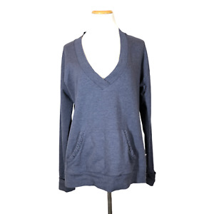 Zinni by Garnet Hill Size L Blue-Grey V-Neck Pullover Sweater Kangaroo Pocket