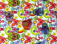 IVORY WITH A DESIGN OF MULTICOLOUR PATTERNED SKULLS -100% COTTON FABRIC FQ'S