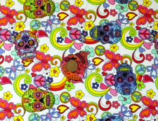 MULTICOLOUR PATTERNED SKULLS ON IVORY -100% COTTON FABRIC FQ'S