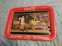 Vintage Coca Cola Coke Brand Serving Tray 1987 Touring Car Soda Collectible