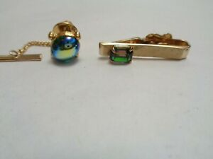 Vintage LOT of 2 Watermelon Rivoli GLASS Beaded Tie Clip & Tie Tack 1  SWANK