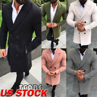Fashion Men Trench Coat Warm Thicken Jacket Woolen Peacoat Long Overcoat Tops