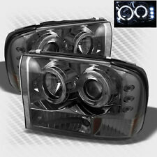 For Smoked 99-04 F250 F350 Super Duty Halo LED Pro Headlights Smoke Head Light