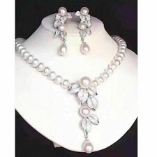 set of 9-10mm south sea white round pearl necklace 18inch &earring