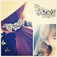 Crystal Flower Wedding Bridal Rhinestone Headband Hair Clip Comb Pin Diamante